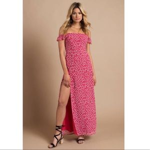 Multi Red Off the Shoulder Maxi Dress